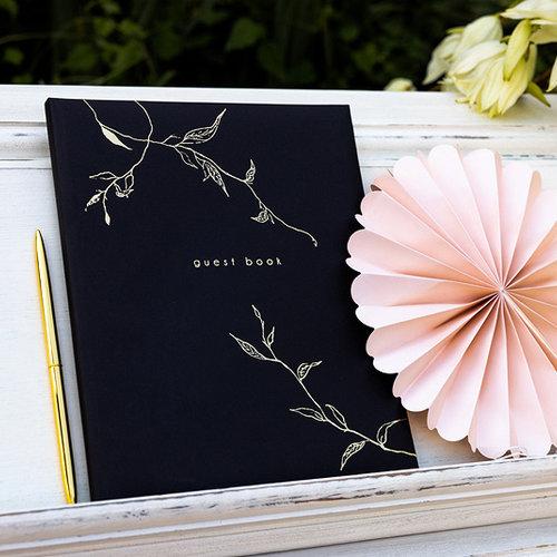 PartyDeco Gastenboek zwart met gouden design   22 pagina's