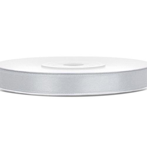 PartyDeco Satijnen lint zilver - 6mm breed - 25 meter lang