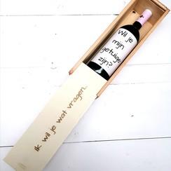 Wil je mijn getuige zijn - gegraveerde wijnkist incl. etiket