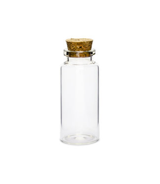 PartyDeco Glazen flesjes met kurk - 12 stuks