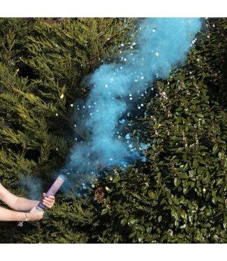 Ginger Ray 1-2 weken levertijd! Confetti en rookkanon blauw gender reveal