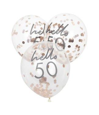 Ginger Ray 5 Confettiballonnen 50 jaar | Hello 50
