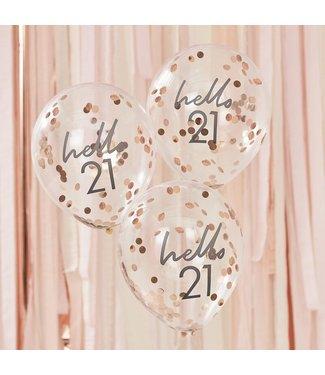 Ginger Ray 5 Confettiballonnen 21 jaar | Hello 21