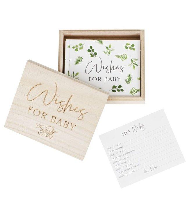 Ginger Ray Wishes for baby - Advieskaarten in houten box