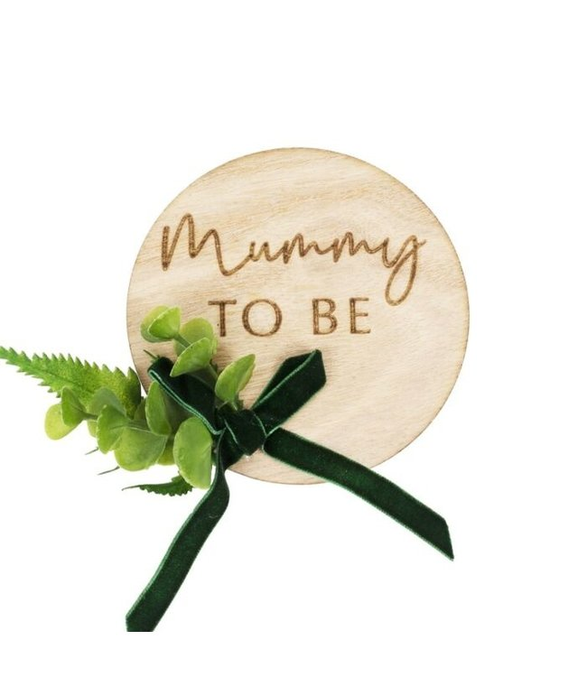 Ginger Ray Mummy to be badge - hout