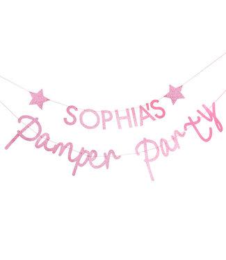 Ginger Ray Pamper party roze glitter - gepersonaliseerde slinger