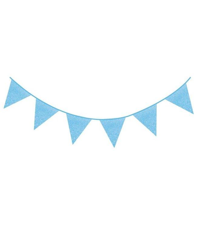 Haza Glitter vlaggenlijn lichtblauw - 6 meter