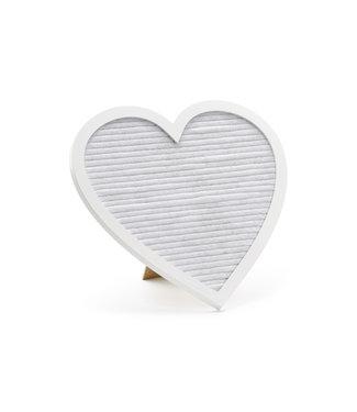 PartyDeco Letterbord wit hart met gouden letters