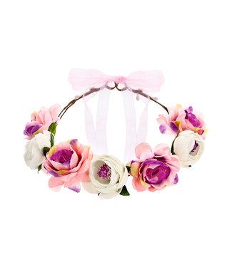 PartyDeco Bloemenkroon roze