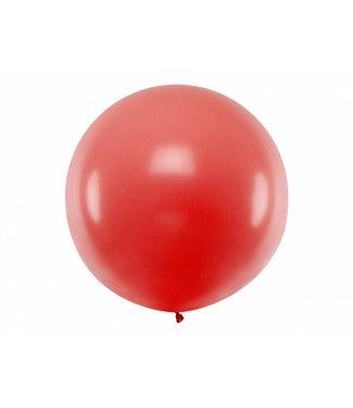 PartyDeco Reuzeballon Rood 100 centimeter