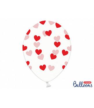 PartyDeco Doorzichtige ballonnen met rode hartjes 6 stuks
