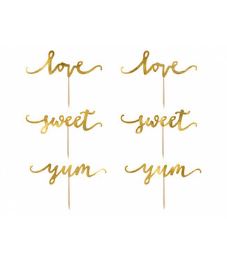 PartyDeco Cupcake Toppers Goud Sweet Love Yum