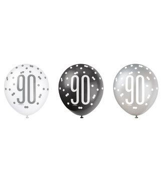 Haza Ballonnen 90 jaar - zwart/zilver/wit - 6 stuks