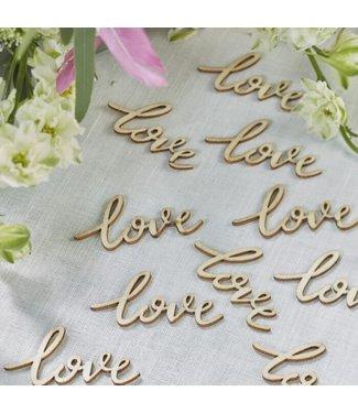 Ginger Ray Tafelconfetti hout - Love (25 stuks)
