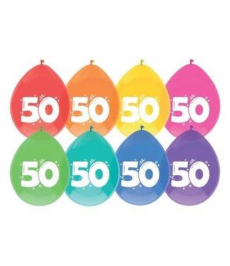 Haza Ballonnen 50 jaar | gekleurd | 8 stuks