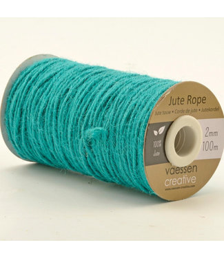 Feestdeco Jute touw aqua | 100 meter | 2 mm breed