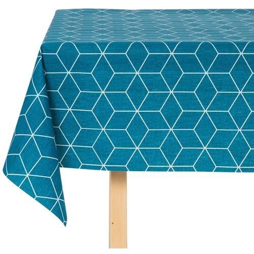 Tafelkleed Katoen Gecoat Isometric Blauw