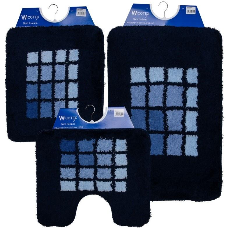 Badmat - Wcmat- Bidetmat Blauw Geblokt