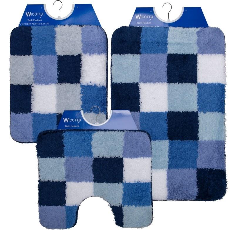 Badmat - Wcmat- Bidetmat Blauw Wit Geblokt