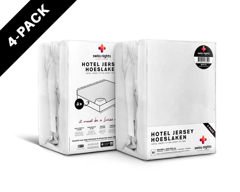 Hoeslaken 4 pack Hotel Jersey Wit