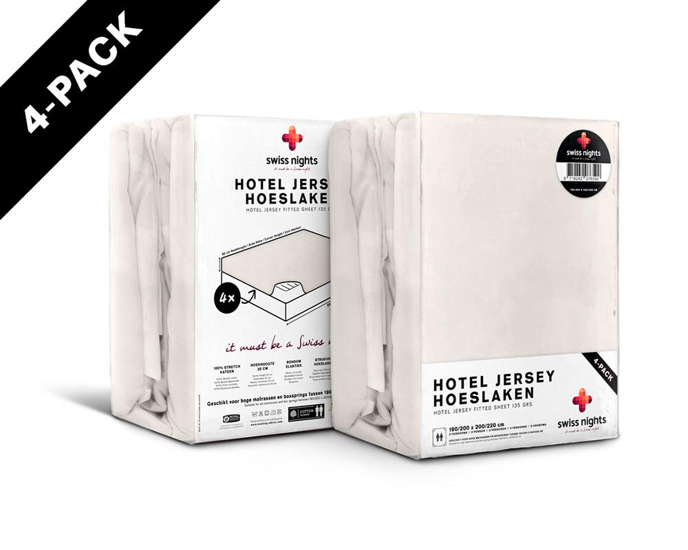 Hoeslaken 4 pack Hotel Jersey Crème