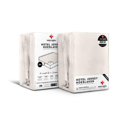 Superwoonwinkel Hoeslaken 4 pack Hotel Jersey Crème