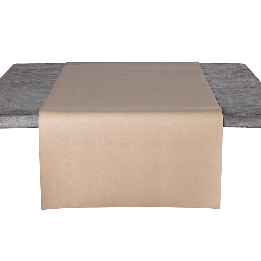 Tafelloper Kunstleer Beige 45 x 140 CM