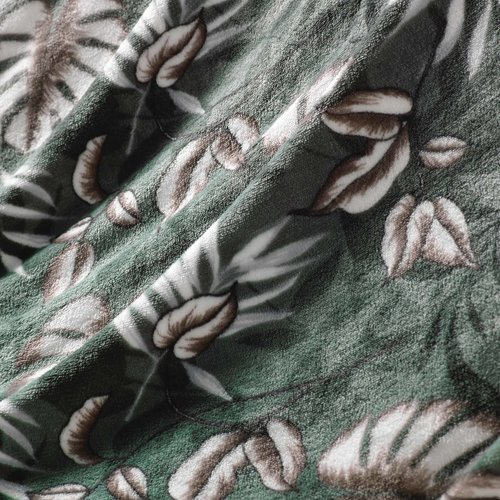 Plaid Franjes Groen Bloem 125 x 150 cm