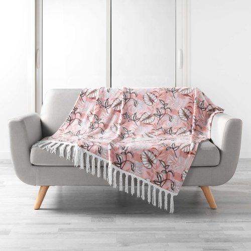 Plaid Franjes Roze Bloem 125 x 150 cm