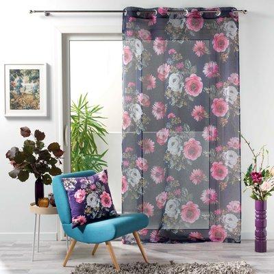 Kant En Klaar Gordijn Vitrage Bloemen Grijs 140 x 240 cm