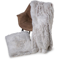 Plaid kunst bont Snow 150x200cm wit bruin
