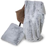 Plaid kunst bont Snow 150x200cm Wit Zwart