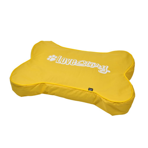Hondenkussen-Hondenbed-Bone shape 100x70cm geel