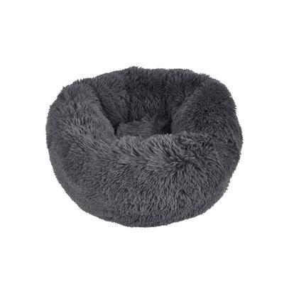 Kattenmand-Hondenmand-Fluffy rond 55cm donker grijs