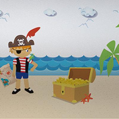 Raamfolie statisch-anti inkijk-Piraten 46cm x 1.5 M