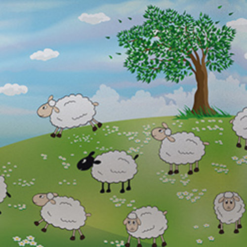 Raamfolie statisch-anti inkijk-Sheeps 46cm x 1.5 M