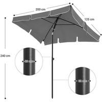 Parasol rechthoekig Grijs - Incl. hoes