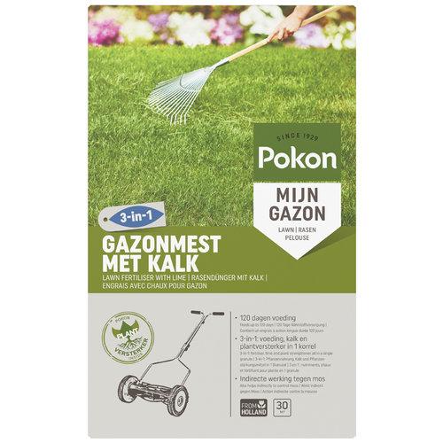 Pokon Pokon Gazonmest met Kalk 3-in-1 30m2