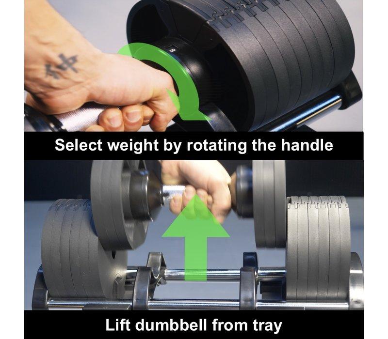 FitnessRAW Twist-pro verstelbare dumbells set