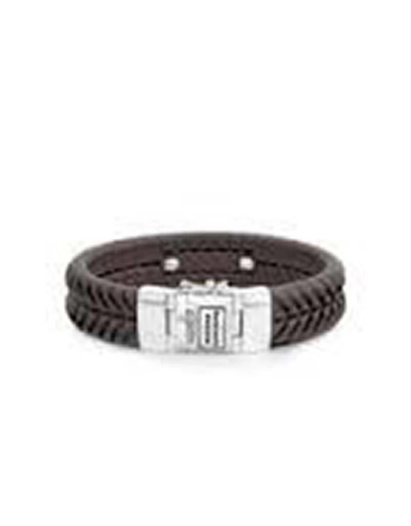 Buddha to Buddha BtoB 161BR F Armband Komang Leather Brown - Maat F - 21cm