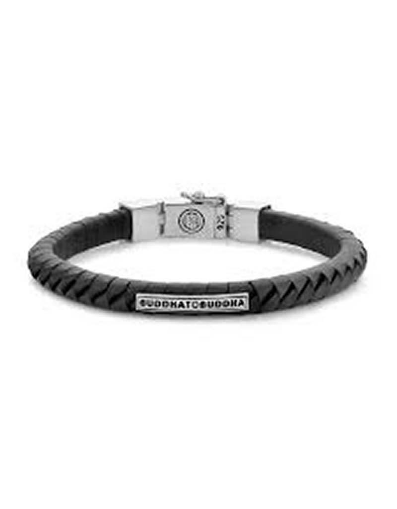 Buddha to Buddha BtoB 162BL E Komang Small Leather Black Armband - Maat E - 19cm