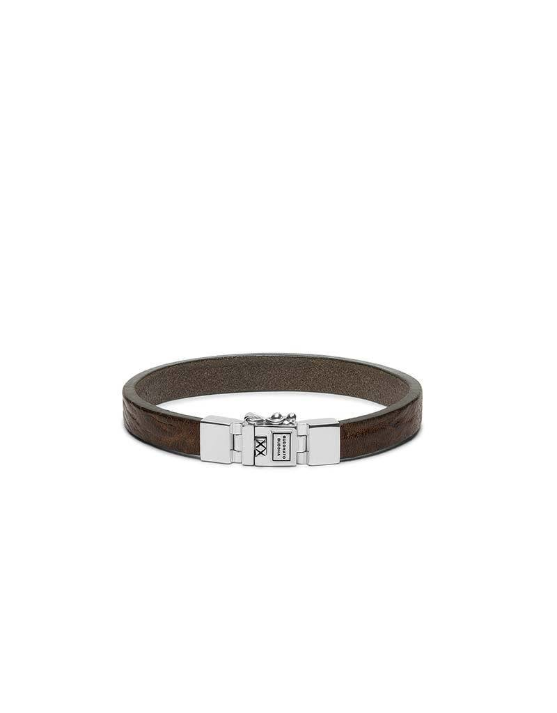 Buddha to Buddha Buddha to Buddha 186BR Essential Leather Smooth Brown armband - Size F -  21CM
