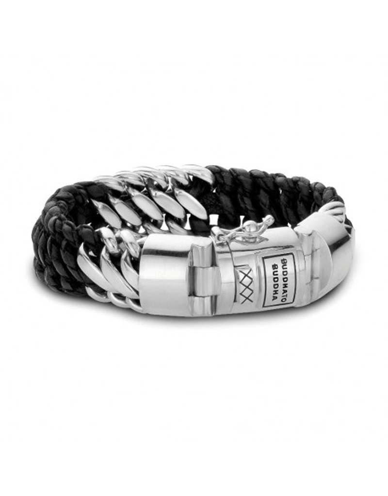 Buddha to Buddha Buddha to Buddha - 815BL Ben Mix Silver/Leather Armband -Maat 21CM