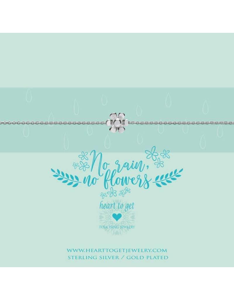 "Heart to get HTG B361FLO17S Armband Zilver Bloem, ""No rain, no flower"""