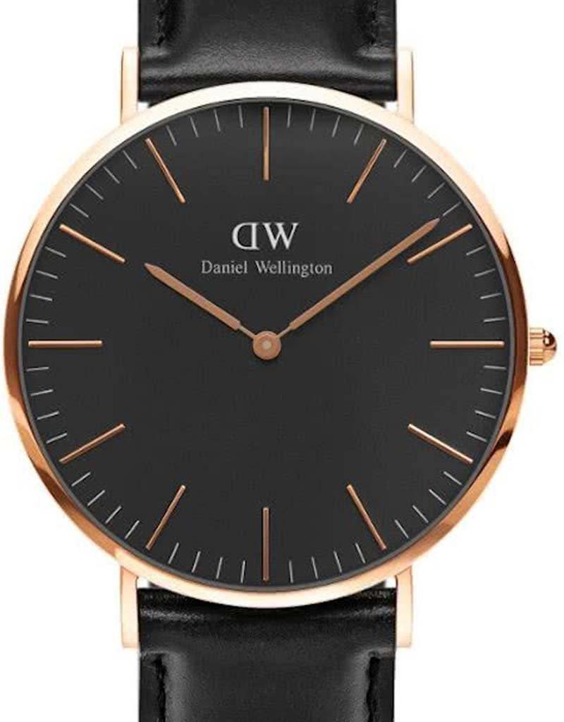 Daniel Wellington Daniel Wellington Classic Black Sheffield DW00100127 - Horloge - Leer - Zwart - Ø 40 mm