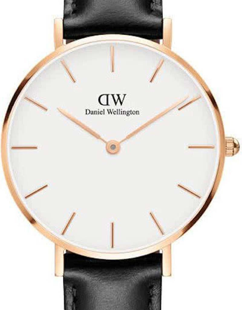Daniel Wellington Daniel Wellington Petite Rosé Sheffield White DW00100174 - Horloge - 32mm - Leer - Zwart