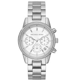 Michael Kors Michael Kors MK6428 horloge dames staal chrono met witte wijzerplaat en stalen accenten