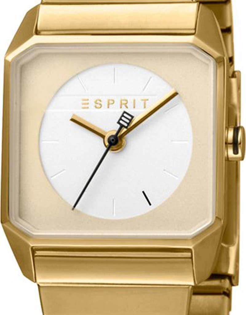 Esprit Esprit Cube Mini ES1L070E0075 horloge - Staal - Goudkleurig - Ø 25