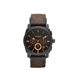 Fossil Fossil FS4656 Horloge heren Chrono Staal Zwart met bruin leren band