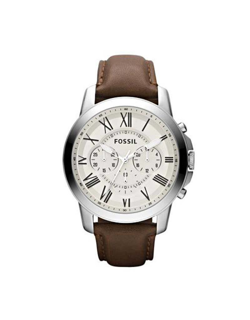 Fossil Fossil FS4735IE Horloge Staal Chrono leren band